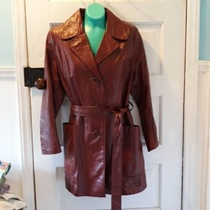 Mountaineer Leather trench coat  vintage 1970s